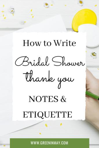 Bridal shower thank you notes etiquette
