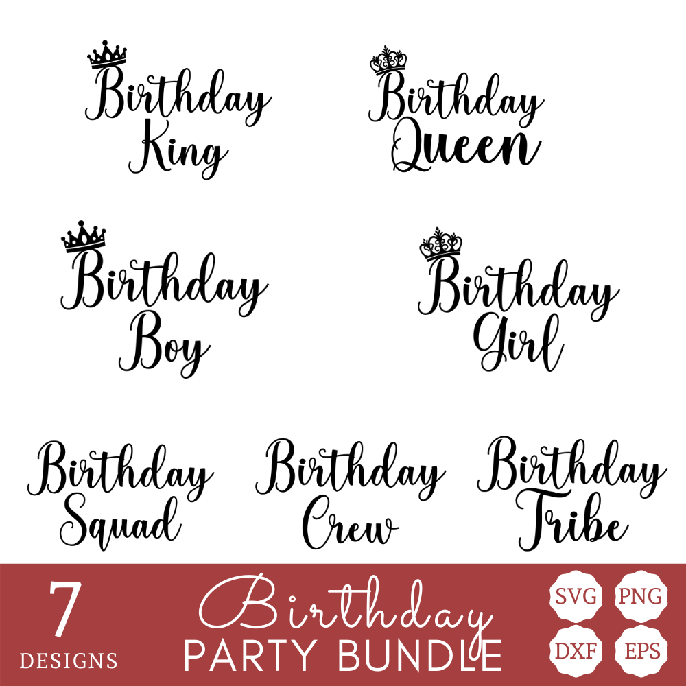 Birthday with Crown SVG