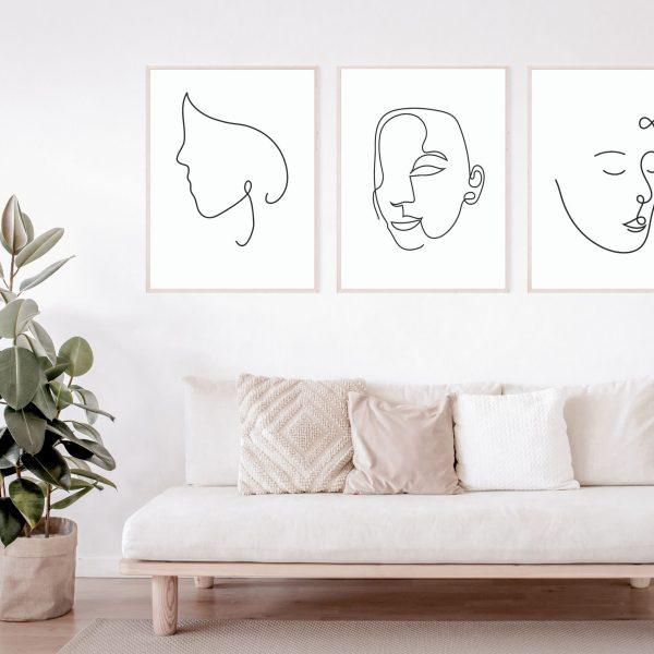 Faces Line Art Prints