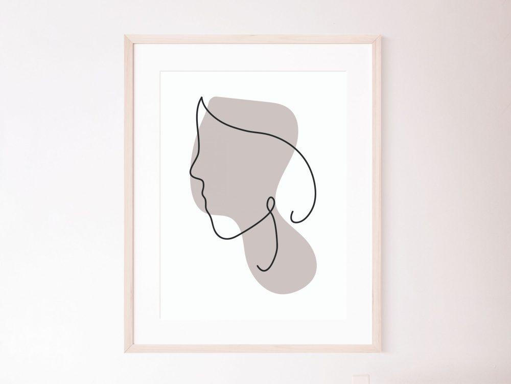 Faces with color line prints