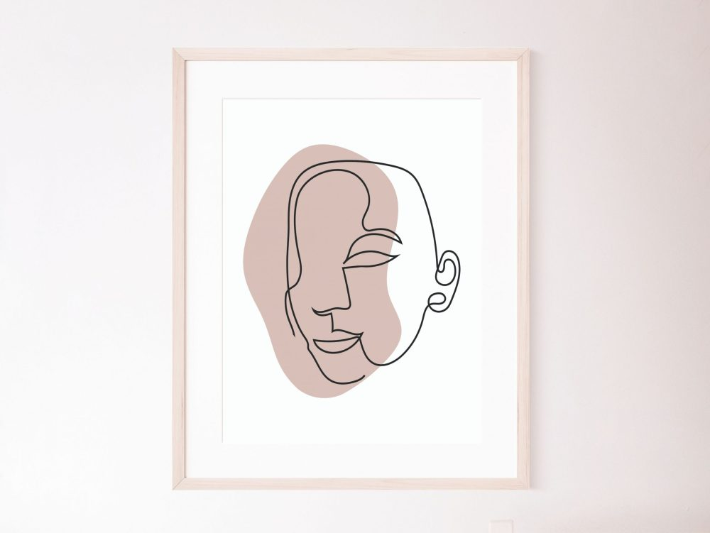 Faces with color line wall art