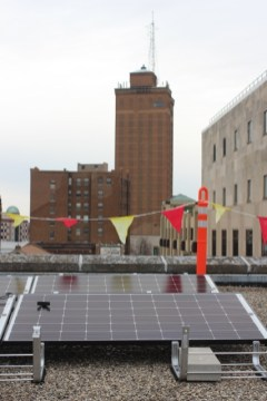 View of Stolp Island with Leland Tower, could Aurora's star be solar powered in the future?