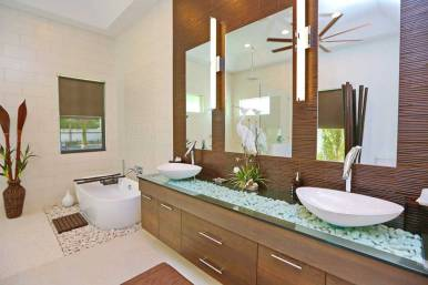 Beautiful Modern Designed Master Bathroom with Stones Underneath the Sink