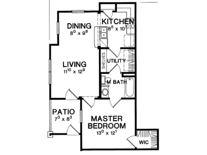 1 Bed / 1 Bath / 678 ft² / Deposit: $375 / Rent: $1,249