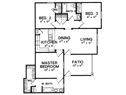 3 Bed / 2 Bath / 1,146 sq ft / Deposit: $950 / Rent: $1,759