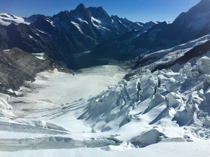 A view of the Aletsch Glacier in the Bernese Alps
