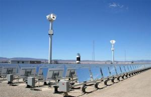 eSolar's first commercial solar power plant in the desert city of Lancaster, California is seen on its opening day