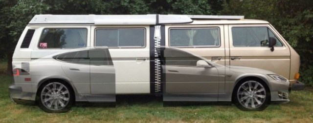 Tesla Model S + Two Volkswagen Vanagon Westfalia=Stretchla