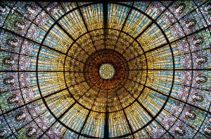 Century old stained glass window in Barcelona, Catalonia, Spain