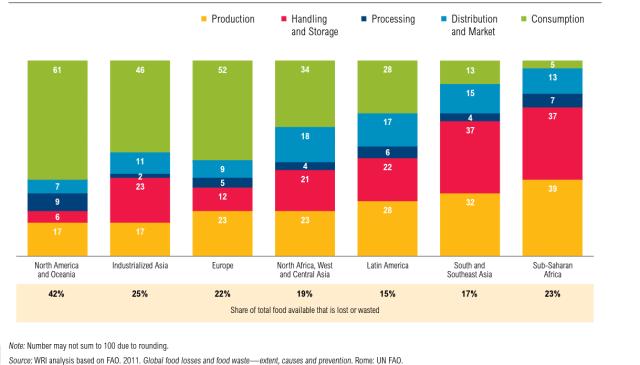 Food wastage and loss per region, 2009, UN FAO-1