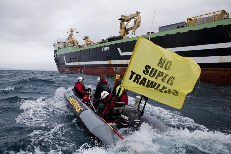 A Greenpeace boat demonstrates against the Margiris supertrawler