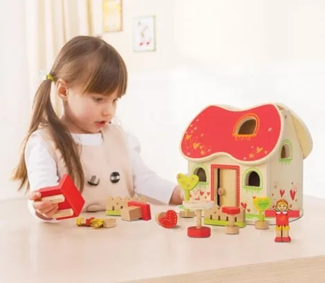 EverEarth Fairy Tale Dolls House and child