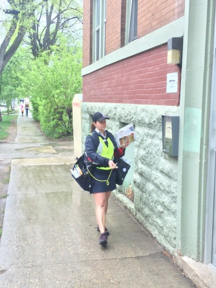 Basia Sokal delivering mail in Winnipeg