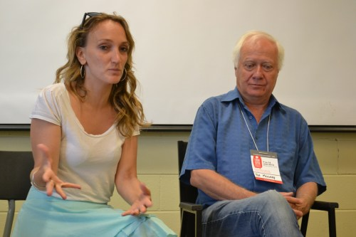 Aisha Dodwell (Global Justice Now) and Pat Mooney (etc Group) (David Kattenburg)