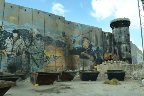 Israel's Separation Wall overlooks Aida refugee camp, Bethlehem (David Kattenburg)