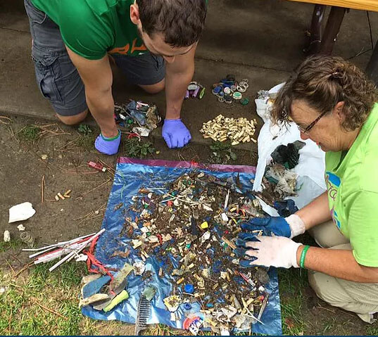 Litter picked up from beach on Lake Erie