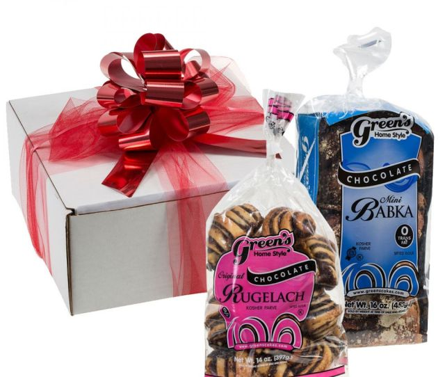 Our Chocolate Lovers Gift Box Comes With One Of Greens Fresh Kosher Certified 16 Ounce Mini Chocolate Babkas And A Package Of Chocolate Rugelach
