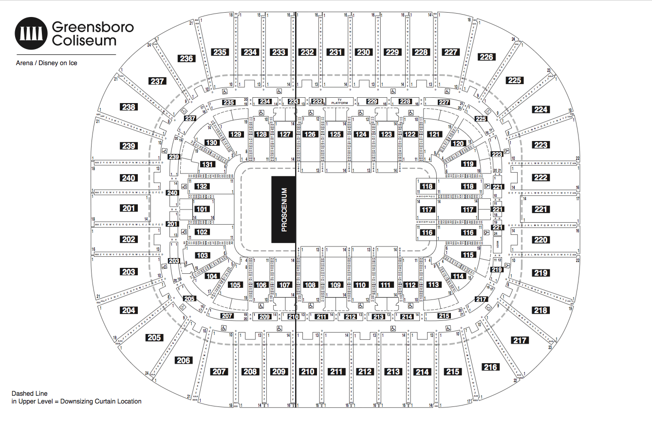 Greensboro Coliseum Seating Chart Detailed