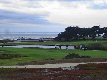 Pacific Grove Golf Links Pacific Grove California. View of Hole 16 & 17