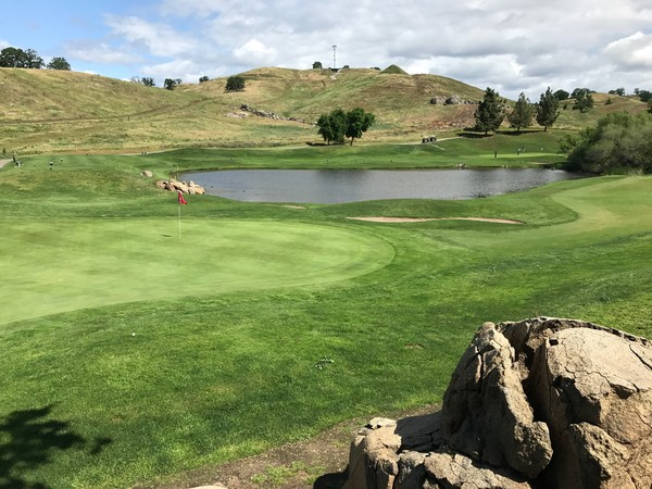 Eagle Springs Golf Country Club Friant California Hole 16 Green with Hole 17 across the water