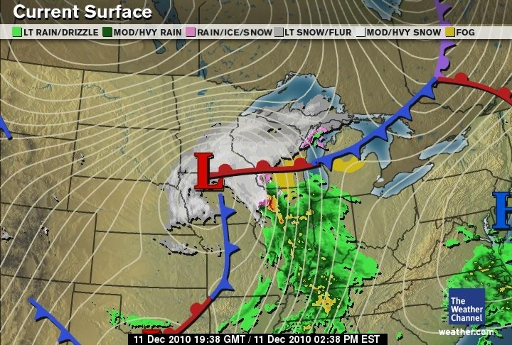 Green Sky Chaser      2010      December Weather Channel surface map  NWS Des Moines weather forecast