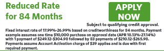 Fixed APR for 84 Months, 5 Interest Only Payments, 79 Principal Pmts