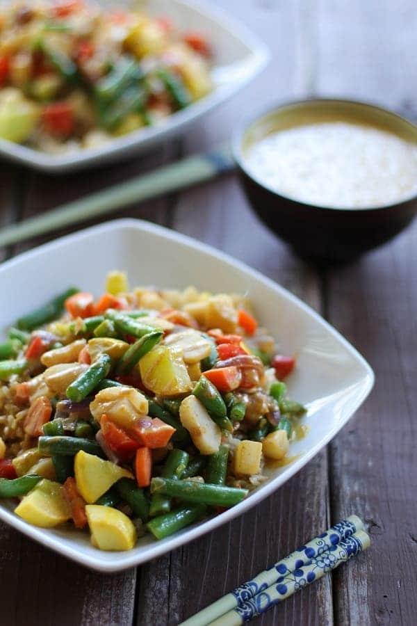 6 Vegetable Stir Fry with Peanut Sauce