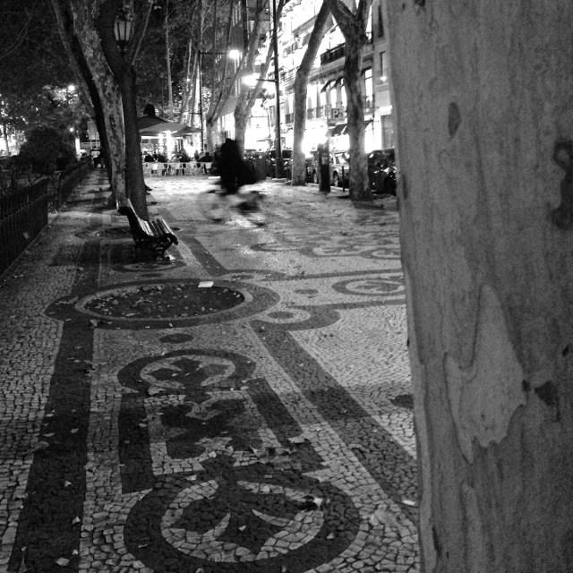 Die Avenida da Liberdade des nachts im Príncipe Real in Lissabon.