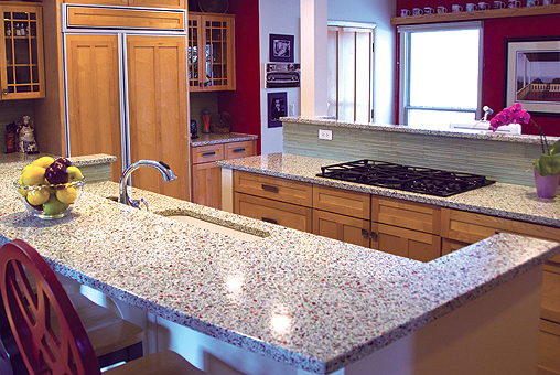a member of the us green building council usgbc offers rinato terrazzo countertops made of recycled glassbased material