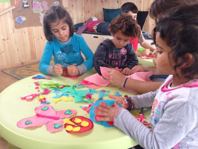 Making felt animals during baby madrasa