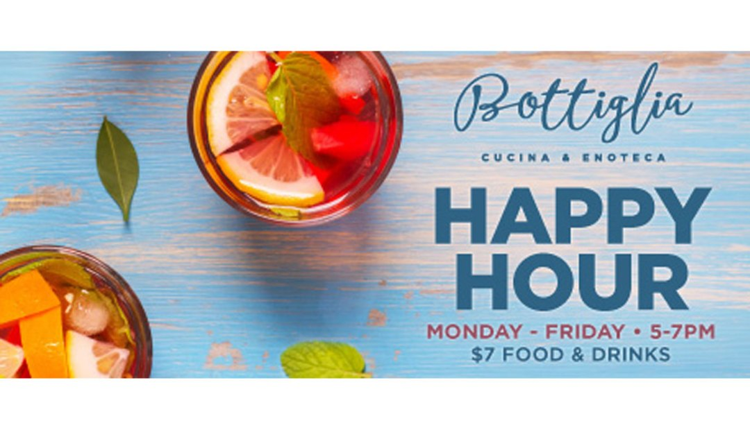 Happy Hour promotional graphic for Bottiglia