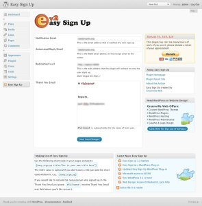 New easy sign up plugin's options screen