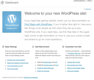 the WordPress welcome panel