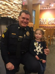 Hingham Police Sgt. Steven Dearth with 4-yr-old Lillian