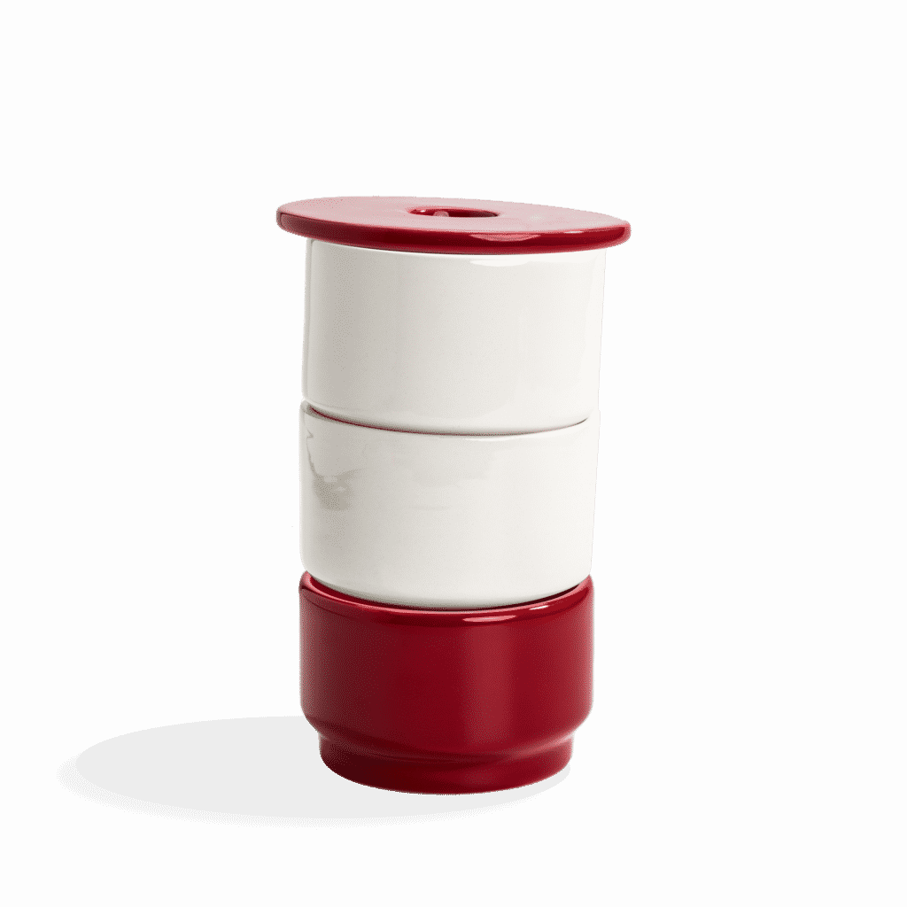 Ujo modular ceramic planter by Andre Gouveia (red 3)