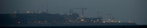 Flamanville Nuclear Power Plant by night