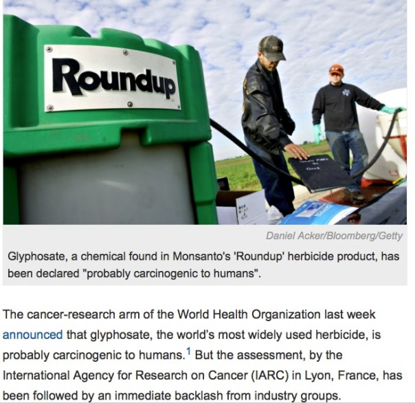 Screen Shot Widely used herbicide linked to cancer As the World Health Organization's research arm declares glyphosate a probable carcinogen, Nature looks at the evidence.