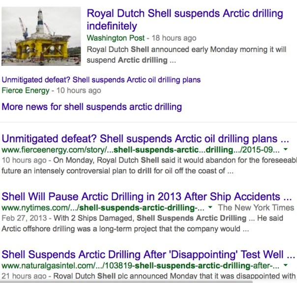 Royal Dutch Shell Suspends Drilling in Arctic