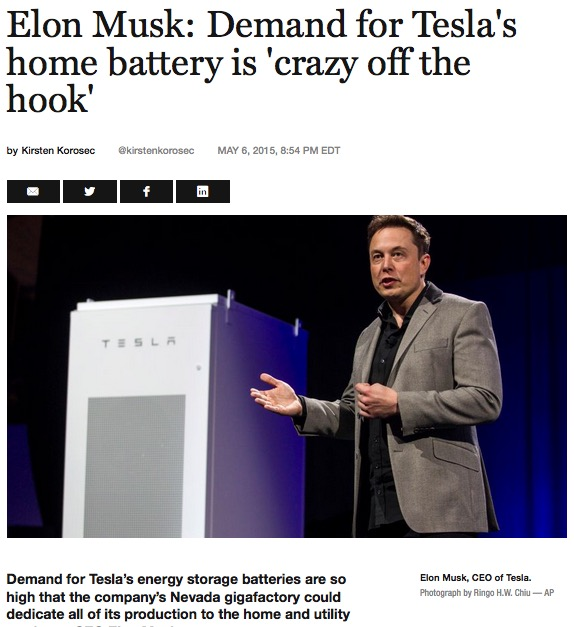 Demand for Tesla Power Wall is off the hook - Fortune Magazine