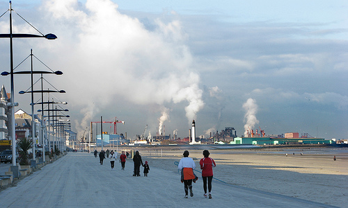Dunkerque, France with the steam and pollution in the background