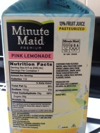 Minute Maid Pink Lemonade, Nutrition Facts