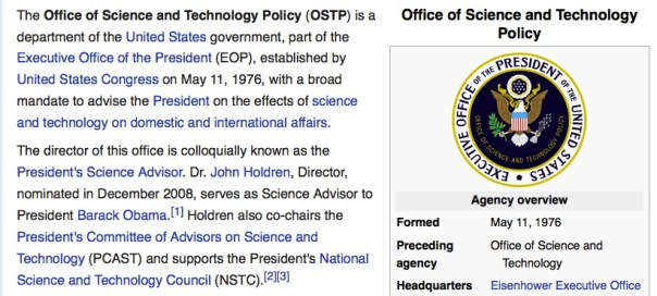Office of Science and Technology - advisors?