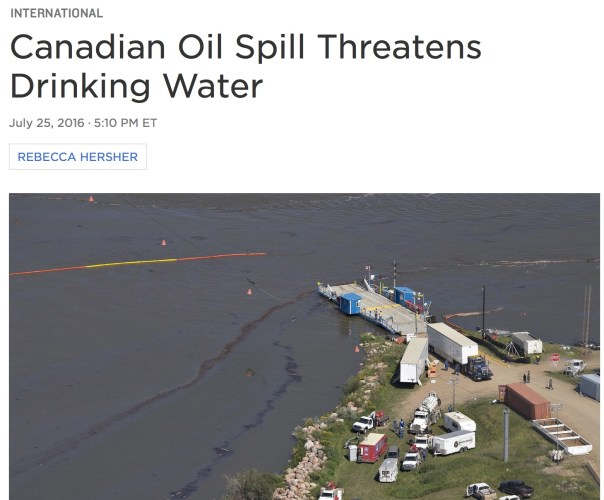 Canadian Oil Spill Threatens Drinking Water      Facebook     Twitter     Google+     Email  July 25, 2016