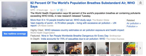 92 Percent Of The World's Population Breathes Substandard Air, WHO Says Facebook Twitter Google+ Email September 27, 2016