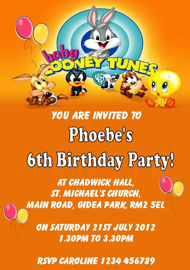 Personalised Baby Looney Tunes Birthday Card