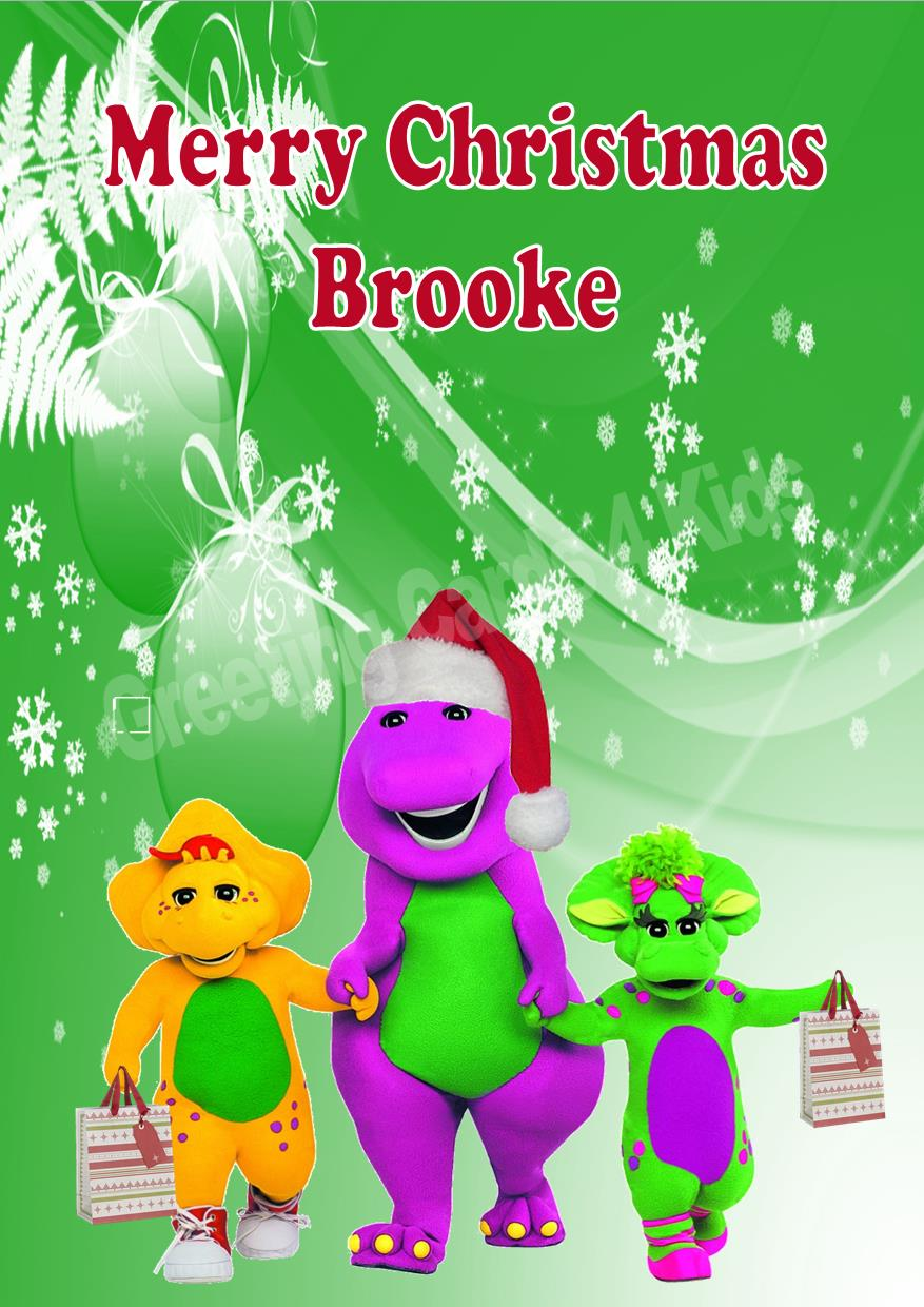 Personalised Barney Amp Friends Christmas Card
