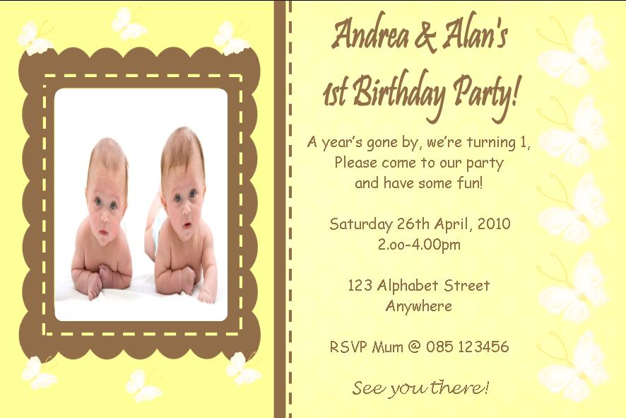 personalised birthday photo invitations twins design 3