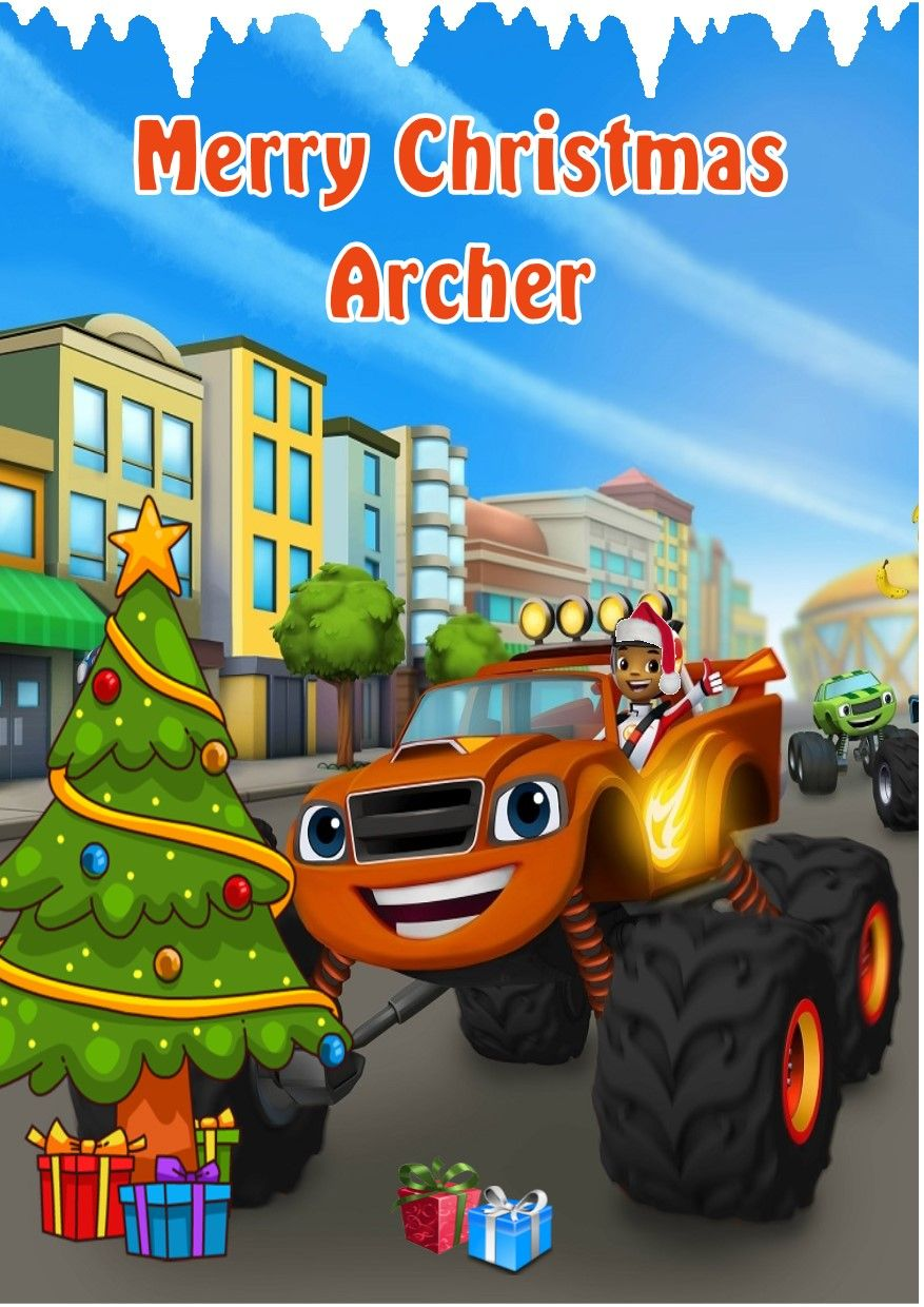 Personalised Blaze And The Monster Machines Christmas Card