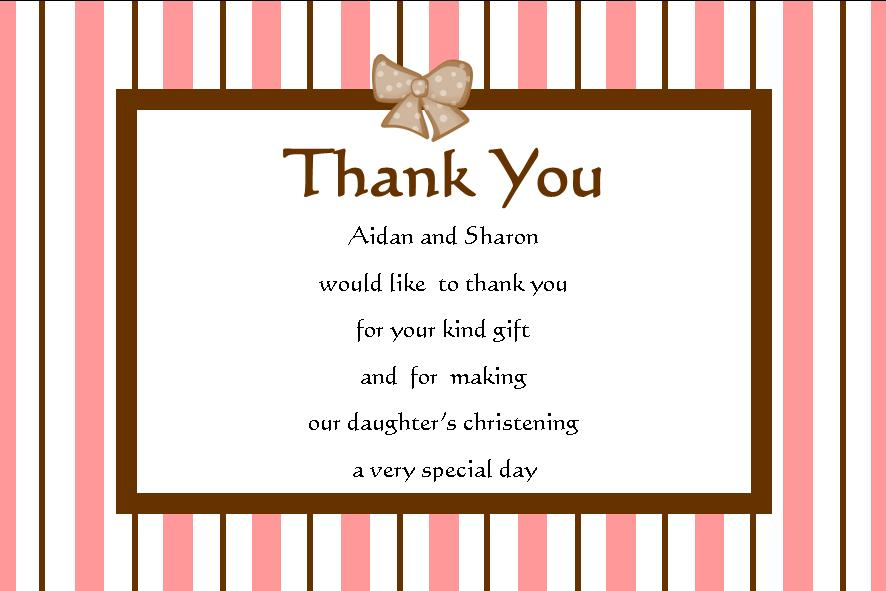 Personalised Girl Christening Thank You Cards 2