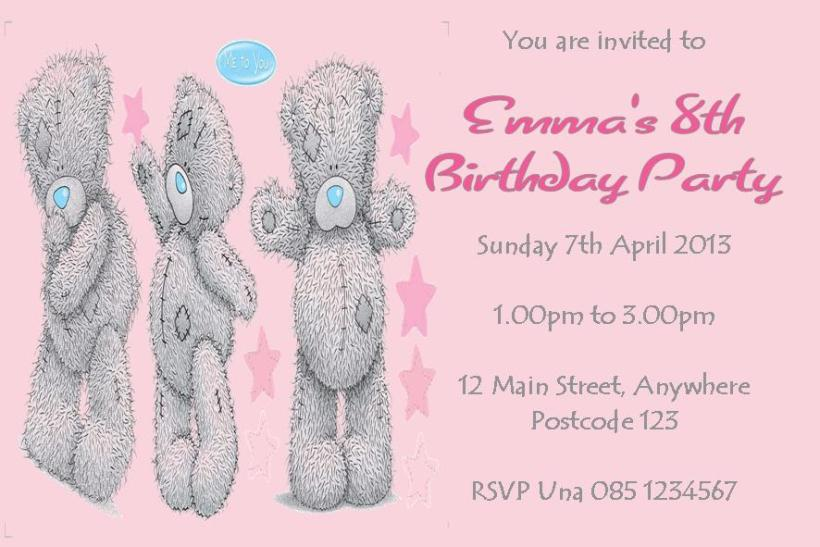 Personalised Me To You Tatty Teddy Invitations 1622 P Jpg